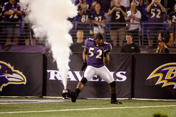 BALTIMORE, MD - AUGUST 25:  Linebacker Ray Lewis #52 of the Baltimore Ravens is introduced before the start of a preaseon game against the Washington Redskins at M&amp;T Bank Stadium on August 25, 2011 in Baltimore, Maryland.  (Photo by Rob Carr/Getty Images)