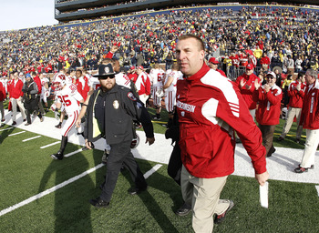 ANN ARBOR, MI - NOVEMBER 20: Head coach Bret Bielema of the Wisconsin Badgers heads onto the field after defeating the Michigan Wolverines 48-28 at Michigan Stadium on November 20, 2010 in Ann Arbor, Michigan.  (Photo by Gregory Shamus/Getty Images)