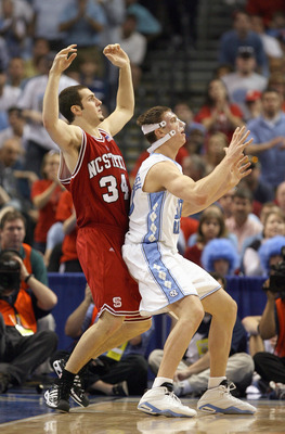 TAMPA, FL - MARCH 11: Tyler Hansbrough #50 of the North Carolina Tar Heels looks for the catch with Ben McCauley #34 of the North Carolina State Wolfpack in the ACC Men's Basketball Tournament Championship on March 11, 2007 at the St. Pete Times Forum in