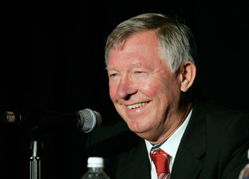 NEW YORK, NY - JULY 25: Manchester United Head Coach Sir Alex Ferguson speaks at the 2011 MLS All-Star Game press conference at All-Star HUB on July 25, 2011 in New York City. The MLS All-Star game will be played on Wednesday July 27, 2011 at Red Bulls Ar
