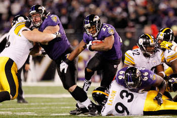 BALTIMORE, MD - DECEMBER 05:  Ray Rice #27 of the Baltimore Ravens runs with the ball against the Pittsburgh Steelers during the third quarter of the game at M&T Bank Stadium on December 5, 2010 in Baltimore, Maryland. Pittsburgh won 13-10. (Photo by Geof