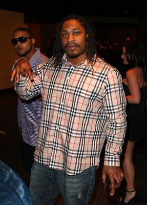 GRAPEVINE, TX - FEBRUARY 03: NFL player Marshawn Lynch of the Seattle Seahawks attends the Coke Zero black carpet at the EA SPORTS Madden Bowl XVII at The Glass Cactus on February 3, 2011 in Grapevine, Texas.  (Photo by Joe Scarnici/Getty Images for Madde