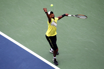 NEW YORK, NY - SEPTEMBER 07:  Donald Young of the United States serves against  Andy Murray of Great Britain during Day Ten of the 2011 US Open at the USTA Billie Jean King National Tennis Center on September 7, 2011 in the Flushing neighborhood of the Qu