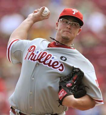 CINCINNATI, OH - SEPTEMBER 1:  Vance Worley #49 of the Philadelphia Phillies pitches against the Cincinnati Reds at Great American Ball Park on September 1, 2011 in Cincinnati, Ohio. Worley pitched six innings for the win as the Phillies defeated the Reds