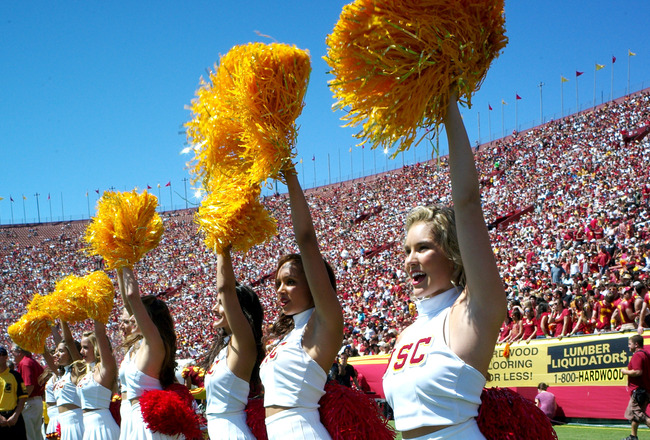 LOS ANGELES - SEPTEMBER 3:  The USC Trojans Song Girls perform during the game with the Minnesota Golden Gophers at the Los Angeles Memorial Coliseum on September 3, 2011 in Los Angeles, California. USC won 19-17.   (Photo by Stephen Dunn/Getty Images)