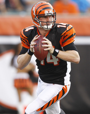 CINCINNATI, OH - SEPTEMBER 1: Andy Dalton #14 of the Cincinnati Bengals looks to pass against the Indianapolis Colts in the first half of an NFL preseason game at Paul Brown Stadium on September 1, 2011 in Cincinnati, Ohio. (Photo by Joe Robbins/Getty Ima