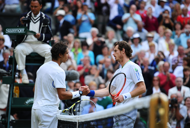 LONDON, ENGLAND - JULY 01:  Rafael Nadal of Spain shakes hands with Andy Murray of Great Britain after winning his semifinal round match against  on Day Eleven of the Wimbledon Lawn Tennis Championships at the All England Lawn Tennis and Croquet Club on J