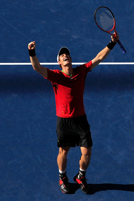 NEW YORK, NY - SEPTEMBER 09:  Andy Murray of Great Britain celebrates after defeating John Isner of the United States during Day Twelve of the 2011 US Open at the USTA Billie Jean King National Tennis Center on September 9, 2011 in the Flushing neighborho