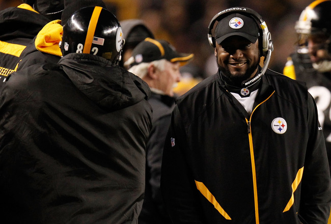 PITTSBURGH, PA - JANUARY 15:  Head coach Mike Tomlin of the Pittsburgh Steelers smiles on the sidelines against the Baltimore Ravens during the AFC Divisional Playoff Game at Heinz Field on January 15, 2011 in Pittsburgh, Pennsylvania.  (Photo by Gregory