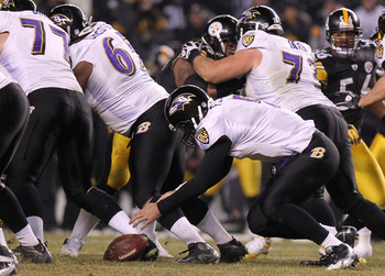 PITTSBURGH, PA - JANUARY 15:  Quarterback Joe Flacco #5 of the Baltimore Ravens fumbles the ball in the third quarter of the AFC Divisional Playoff Game against the Pittsburgh Steelers at Heinz Field on January 15, 2011 in Pittsburgh, Pennsylvania.  (Phot