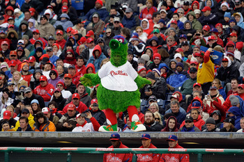 PHILADELPHIA, PA - APRIL 01:  The Philadelphia Phillies Phillies' mascot, the Phillie Phanatic, during opening day at Citizens Bank Park against the Houston Astros on April 1, 2011 in Philadelphia, Pennsylvania.  (Photo by Rob Carr/Getty Images)
