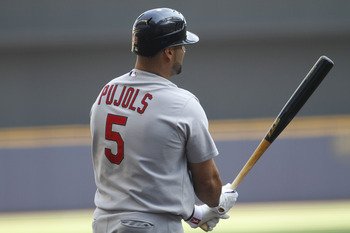 MILWAUKEE, WI - SEPTEMBER 1:  Albert Pujols #5 of the St Louis Cardinals steps up to the plate during game action against  the Milwaukee Brewers at Miller Park on September 1, 2011 in Milwaukee, Wisconsin. The Cardinals beat the Brewers 8-4.(Photo by Mark