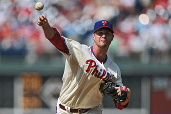 PHILADELPHIA, PA - JULY 23: Starting pitcher Kyle Kendrick #38 of the Philadelphia Phillies delivers a pitch during the game against the San Diego Padres at Citizens Bank Park on July 23, 2011 in Philadelphia, Pennsylvania. The Phillies won 8-6. (Photo by