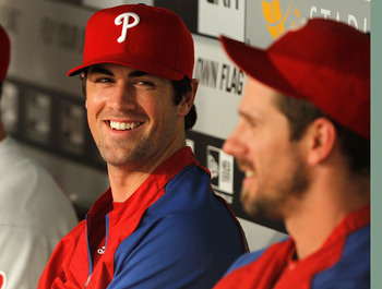 MIAMI GARDENS, FL - SEPTEMBER 02: Cole Hamels #35 of the Philadelphia Phillies looks on during a game against the Florida Marlins at Sun Life Stadium on September 2, 2011 in Miami Gardens, Florida.  (Photo by Mike Ehrmann/Getty Images)