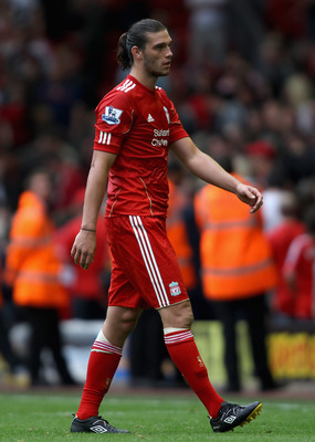 LIVERPOOL, ENGLAND - AUGUST 13:  Andy Carroll of Liverpool looks dejected after the Barclays Premier League match between Liverpool and Sunderland at Anfield on August 13, 2011 in Liverpool, England.  (Photo by Clive Brunskill/Getty Images)