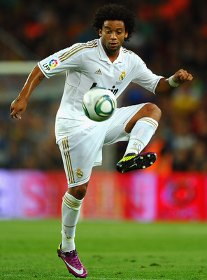 BARCELONA, SPAIN - AUGUST 17:  Marcelo of Real Madrid in action during the Super Cup second leg match between Barcelona and Real Madrid at Nou Camp on August 17, 2011 in Barcelona, Spain.  (Photo by Laurence Griffiths/Getty Images)