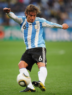 CAPE TOWN, SOUTH AFRICA - JULY 03:  Gabriel Heinze of Argentina in action during the 2010 FIFA World Cup South Africa Quarter Final match between Argentina and Germany at Green Point Stadium on July 3, 2010 in Cape Town, South Africa.  (Photo by Clive Mas