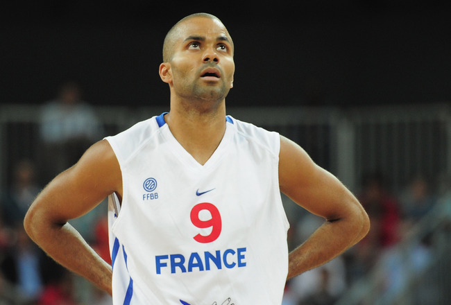 LONDON, ENGLAND - AUGUST 17:  Tony Parker of France during the London Prepares Series match between France and Australia at the Basketball Arena on August 17, 2011 in London, England.  (Photo by Shaun Botterill/Getty Images)