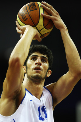 LONDON, ENGLAND - AUGUST 15:  Lior Eliyahu of Israel shoots at the basket during the game between Israel and Poland as part of the Game On event at the O2 Arena on August 15, 2009 in London, England.  (Photo by Paul Gilham/Getty Images)