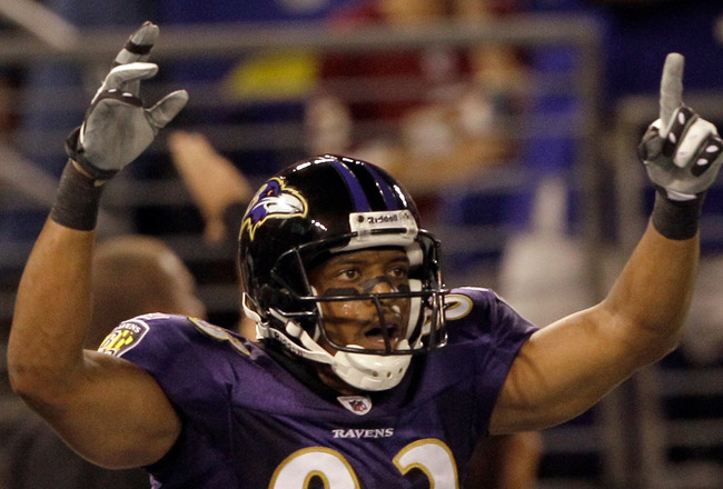 BALTIMORE, MD - AUGUST 25: Wide receiver Lee Evans #83 of the Baltimore Ravens celebrates after scoring a touchdown against the Washington Redskins during the first half of a preseason game at M&T Bank Stadium on August 25, 2011 in Baltimore, Maryland.  (