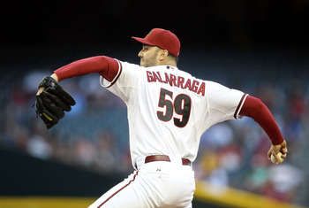 PHOENIX, AZ - MAY 16:  Starting pitcher Armando Galarraga #59 of the Arizona Diamondbacks pitches against the San Diego Padres during the Major League Baseball game at Chase Field on May 16, 2011 in Phoenix, Arizona.  (Photo by Christian Petersen/Getty Im