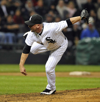 CHICAGO, IL - JUNE 11: Jesse Crain  #26 Chicago White Sox pitches in the ninth inning against the Oakland Athletics on June 11, 2011 at U.S. Cellular Field in Chicago, Illinois. The Sox defeated the Athletics 3-2.  (Photo by David Banks/Getty Images)