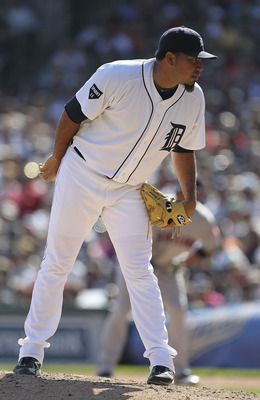 DETROIT - AUGUST 21:  Joaquin Benoit #53 of the Detroit Tigers pitches in the eight inning during the game against the Cleveland Indians at Comerica Park on August 21, 2011 in Detroit, Michigan.  The Tigers defeated the Indians 8-7.  (Photo by Leon Halip/