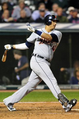CLEVELAND, OH - SEPTEMBER 6: Victor Martinez #41 of the Detroit Tigers hits an RBI single during the seventh inning against the Cleveland Indians at Progressive Field on September 6, 2011 in Cleveland, Ohio. (Photo by Jason Miller/Getty Images)