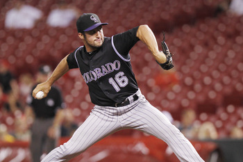 CINCINNATI, OH - AUGUST 8: Huston Street #16 of the Colorado Rockies pitches the ninth inning against the Cincinnati Reds at Great American Ball Park on August 8, 2011 in Cincinnati, Ohio. The Rockies won 10-7. (Photo by Joe Robbins/Getty Images)