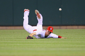 ST. LOUIS, MO - MAY 31: Colby Rasmus #28 of the St. Louis Cardinals misplays a fly ball against the San Francisco Giants at Busch Stadium on May 31, 2011 in St. Louis, Missouri.  (Photo by Dilip Vishwanat/Getty Images)