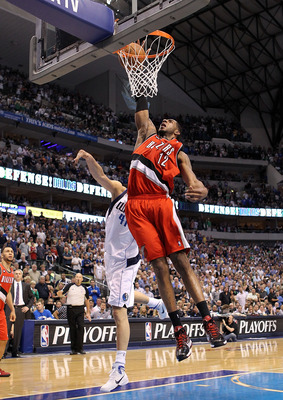 DALLAS, TX - APRIL 16:  Forward LaMarcus Aldridge #12 of the Portland Trail Blazers gets a slam dunk against the Dallas Mavericks in Game One of the Western Conference Quarterfinals during the 2011 NBA Playoffs on April 16, 2011 at American Airlines Cente