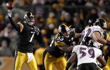 PITTSBURGH, PA - JANUARY 15:  Quarterback Ben Roethlisberger #7 of the Pittsburgh Steelers throws a pass against the Baltimore Ravens in the AFC Divisional Playoff Game at Heinz Field on January 15, 2011 in Pittsburgh, Pennsylvania.  (Photo by Gregory Sha