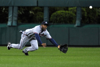 Michael Bourn will actually win a third Gold Glove, but he hasn't deserved it this year.