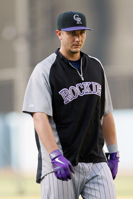 LOS ANGELES, CA - JULY 27:  Troy Tulowitzki #2 of the Colorado Rockies looks on prior to the start of the game against the Los Angeles Dodgers at Dodger Stadium on July 27, 2011 in Los Angeles, California.  (Photo by Jeff Gross/Getty Images)