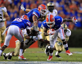 GAINESVILLE, FL - SEPTEMBER 10:  Chris Rainey #1 of the Florida Gators runs for yardage during a game against the UAB Blazers at Ben Hill Griffin Stadium on September 10, 2011 in Gainesville, Florida.  (Photo by Sam Greenwood/Getty Images)