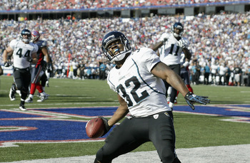 ORCHARD PARK, NY - OCTOBER 10: Maurice Jones-Drew #32  of the Jacksonville Jaguars celebrates what he thinks is a touchdown that was called back for a penalty in the third quarter against the Buffalo Bills   at Ralph Wilson Stadium on October 10, 2010 in