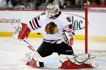 MONTREAL, CANADA - APRIL 5:  The puck goes wide past Corey Crawford #50 of the Chicago Blackhawks during the NHL game against the Montreal Canadiens at the Bell Centre on April 5, 2011 in Montreal, Quebec, Canada.  (Photo by Richard Wolowicz/Getty Images)
