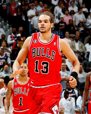 ATLANTA, GA - MAY 06:  Joakim Noah #13 of the Chicago Bulls against the Atlanta Hawks in Game Three of the Eastern Conference Semifinals in the 2011 NBA Playoffs at Phillips Arena on May 6, 2011 in Atlanta, Georgia.  NOTE TO USER: User expressly acknowled