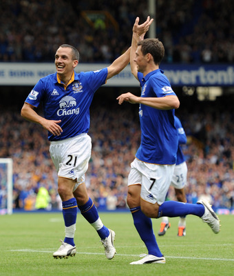 LIVERPOOL, ENGLAND - SEPTEMBER 10:  Leon Osman of Everton celebrates scoring the opening goal with team-mate Diniyar Bilyaletdinov (R) during the Barclays Premier League match between Everton and Aston Villa at Goodison Park on September 10, 2011 in Liver