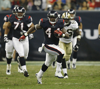HOUSTON - AUGUST 20:  Running back Ben Tate #44 of the Houston Texans breaks loose for a long run against the New Orleans Saints at Reliant Stadium on August 20, 2011 in Houston, Texas.  (Photo by Bob Levey/Getty Images)