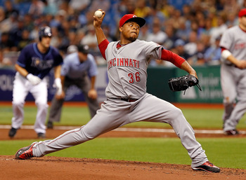 ST PETERSBURG, FL - JUNE 29:  :  Pitcher Edinson Volquez #36 of the Cincinnati Reds pitches against the Tampa Bay Rays during the game at Tropicana Field on June 29, 2011 in St. Petersburg, Florida.  (Photo by J. Meric/Getty Images)