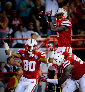 LINCOLN, NE - SEPTEMBER 10: Tim Marlowe #6 and Kenny Bell #80 of the Nebraska Cornhuskers celebrate a second half touchdown during their game at Memorial Stadium September 10, 2011 in Lincoln, Nebraska. Nebraska won 42-29.(Photo by Eric Francis/Getty Imag