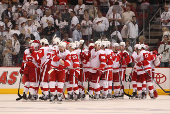 GLENDALE, AZ - APRIL 20:  The Detroit Red Wings celebrate after defeating the Phoenix Coyotes in Game Four of the Western Conference Quarterfinals during the 2011 NHL Stanley Cup Playoffs at Jobing.com Arena on April 20, 2011 in Glendale, Arizona. The Red
