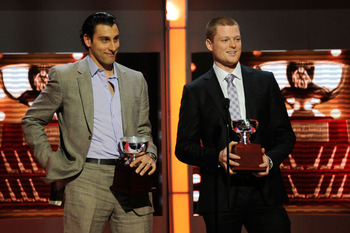 LAS VEGAS, NV - JUNE 22:  (L-R) Roberto Luongo and Cory Schneider of the Vancouver Canucks accept the William M. Jennings Trophy during the 2011 NHL Awards at The Pearl concert theater at the Palms Casino Resort June 22, 2011 in Las Vegas, Nevada.  (Photo