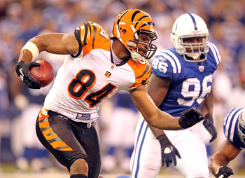 INDIANAPOLIS - NOVEMBER 14:  Jermaine Gresham #84 of the Cincinnati Bengals runs with the ball after catching a pass during the Bengals 23-17 loss to the Indianapolis Colts in the NFL game at Lucas Oil Stadium on November 14, 2010 in Indianapolis, Indiana