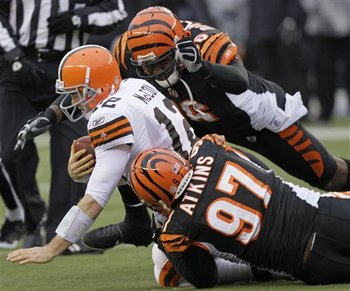 Geno Atkins and Carlos Dunlap gang tackled Colt McCoy