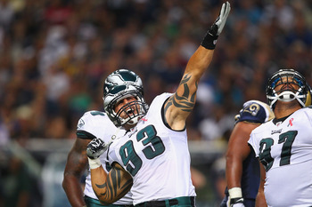 ST. LOUIS - SEPTEMBER 11: Jason Babin #93 of the Philadelphia Eagles celebrates a sack against St. Louis Rams at the Edward Jones Dome on September 11, 2011 in St. Louis, Missouri. The Eagles beat the Rams 31-13. (Photo by Dilip Vishwanat/Getty Images)