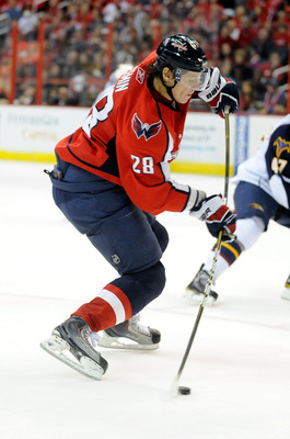 WASHINGTON - NOVEMBER 14:  Alexander Semin #28 of the Washington Capitals shoots the puck against the Atlanta Thrashers at the Verizon Center on November 14, 2010 in Washington, DC.  (Photo by Greg Fiume/Getty Images)