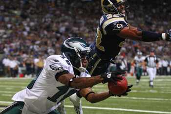 ST. LOUIS - SEPTEMBER 11: DeSean Jackson #10 of the Philadelphia Eagles attempts to catch a touchdown pass against Bradley Fletcher #32 of the St. Louis Rams at the Edward Jones Dome on September 11, 2011 in St. Louis, Missouri. The Eagles beat the Rams 3