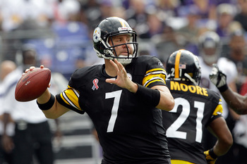 BALTIMORE, MD - SEPTEMBER 11: Quarterback  Ben Roethlisberger #7 of the Pittsburgh Steelers drops back to pass against the Baltimore Ravens during second half of the season opener at M&T Bank Stadium on September 11, 2011 in Baltimore, Maryland.  (Photo b